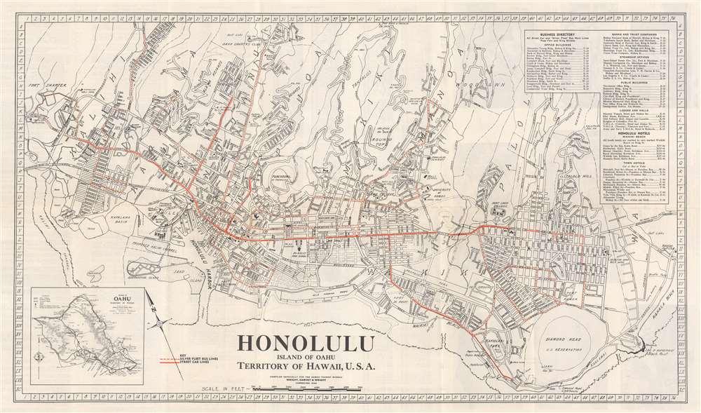 1934 Honolulu Rapid Transit Company City Plan or Map of Honolulu, Hawaii