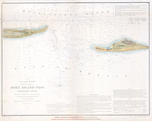 H No. 2 U.S. Coast Survey Horn Island Pass Mississippi Sound.