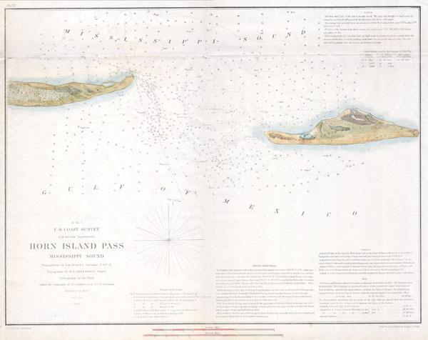 H No. 2 U.S. Coast Survey Horn Island Pass Mississippi Sound. - Main View