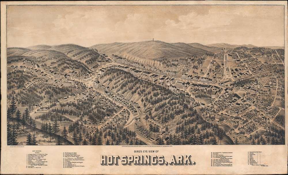 1888 Wellge Bird's-Eye View Map of Hot Springs, Arkansas