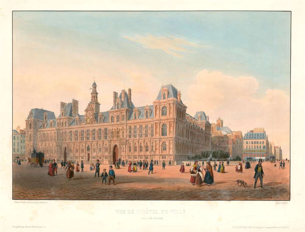 1844 Arnout View of the Hotel de Ville (City Hall) in Paris, France