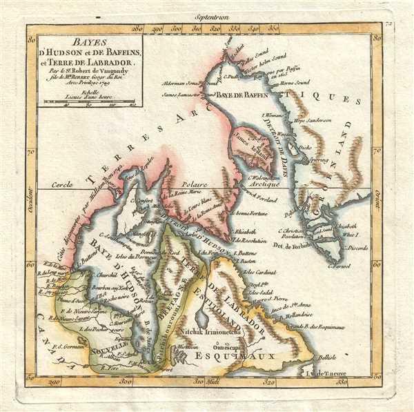 Bayes d'Hudson et de Baffins, et Terre de Labrador. Par le Sr. Robert de Vaugondy fils de Mr. Robert Geogr. du Roi.