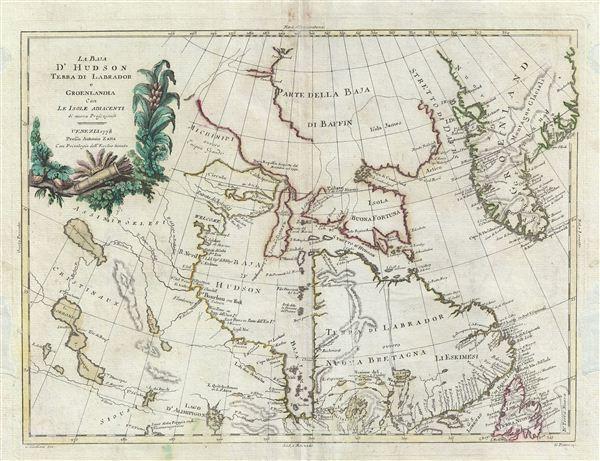 La Baja d'Hudson Terra di Labrador e Groenlandia con le Isloe Adiacenti di nuova Projezione.