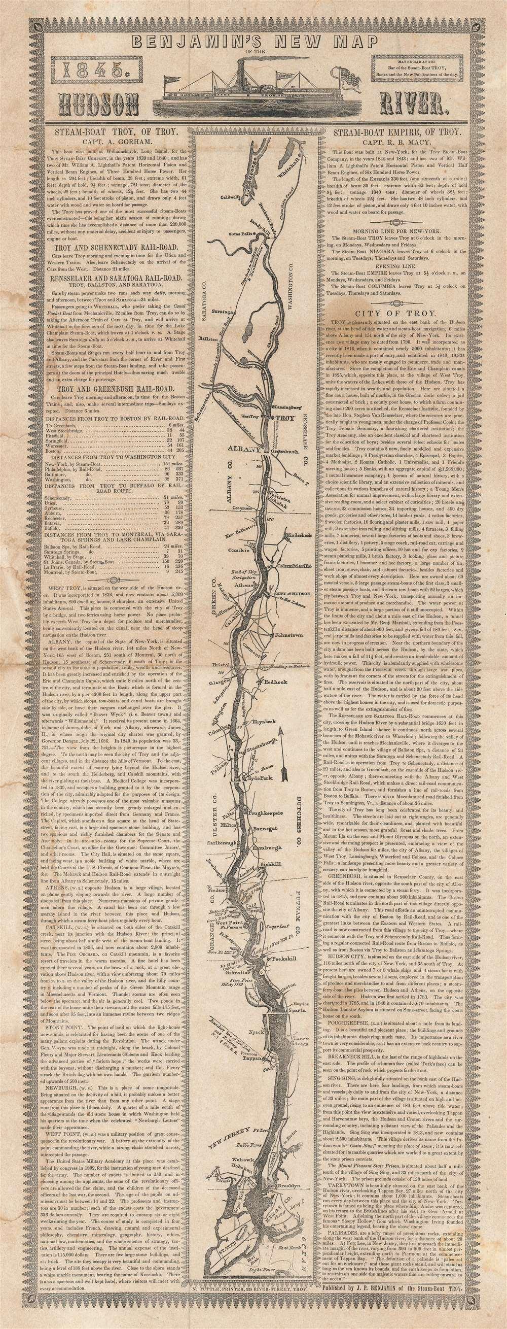 Benjamin's New Map of the Hudson River. - Main View