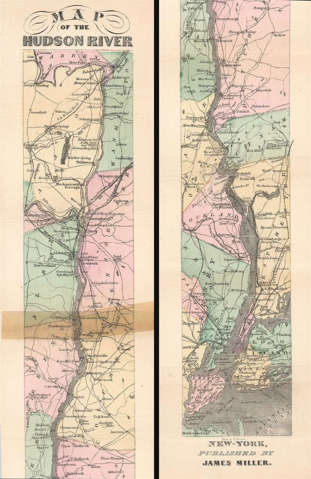 1865 Miller Ribbon Map of the Hudson River, New York