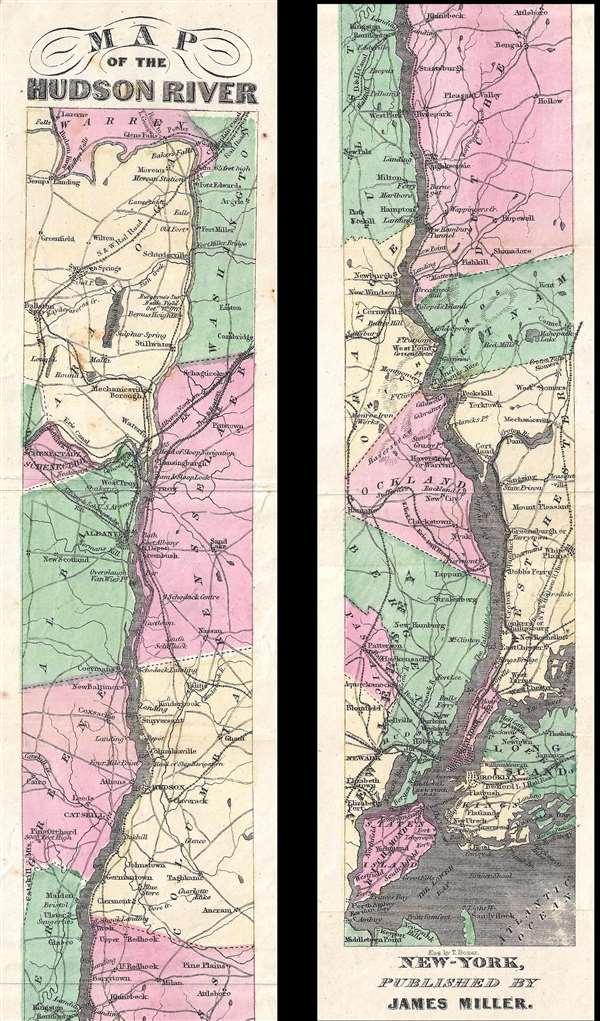 1866 Miller Ribbon Map of the Hudson River, New York