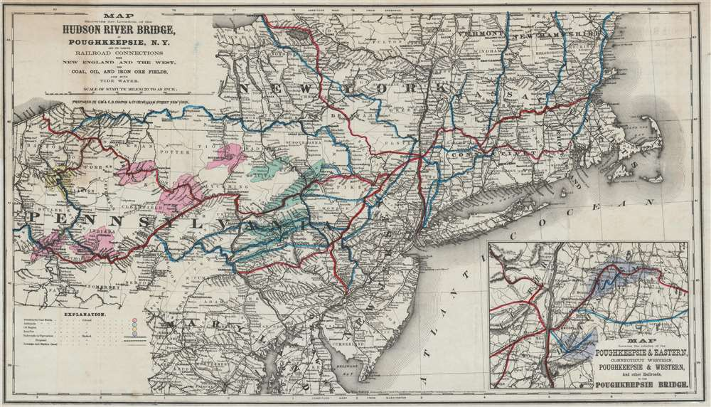 Map Showing the Location of the Hudson River Bridge at Poughkeepsie, N.Y. and its Various Railroad Connections with New England and the West, the Coal, Oil, and Iron Ore Fields, and with Tide Water. - Main View