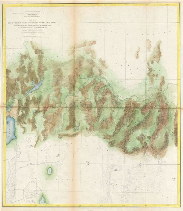 Map No. 3 From the Humboldt Mountains to the Mud Lakes, from Explorations and Surveys made under the direction of the Hon. Jefferson Davis Secretary of War by Capt. E. G. Beckwith 3rd Artillery F. W. Egloffstein Topographer for the Route 1855.