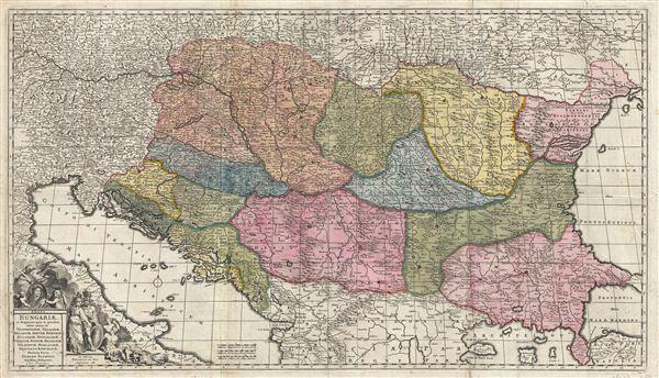 Regni Hungariae et regionum, quae ei quondam fuere unitae, ut Transilvaniae, Valachiae, Moldaviae, Serviae, Romaniae, Bulgariae, Bessarabiae, Croatiae, Bosniae, Dalmatiae, Sclavoniae, Morlachiae, Ragusanae Reipublicae, maximaeq[ue] partis Danubii Fluminis, novissima delineatio.
