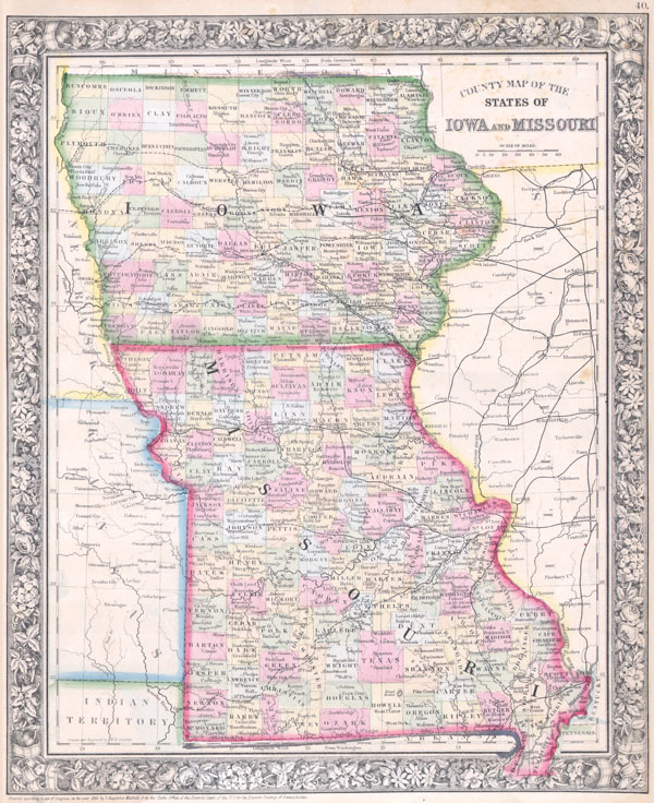 County Map of the States of Iowa and Missouri. - Main View