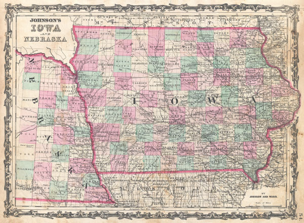 1862 Johnson Map of Iowa and Nebraska