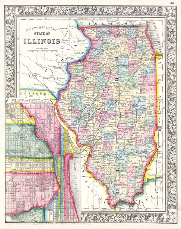 County Map of the State of Illinois. / Plan of Chicago. - Main View