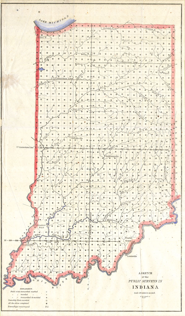 1850 Public Survey Map of Indiana