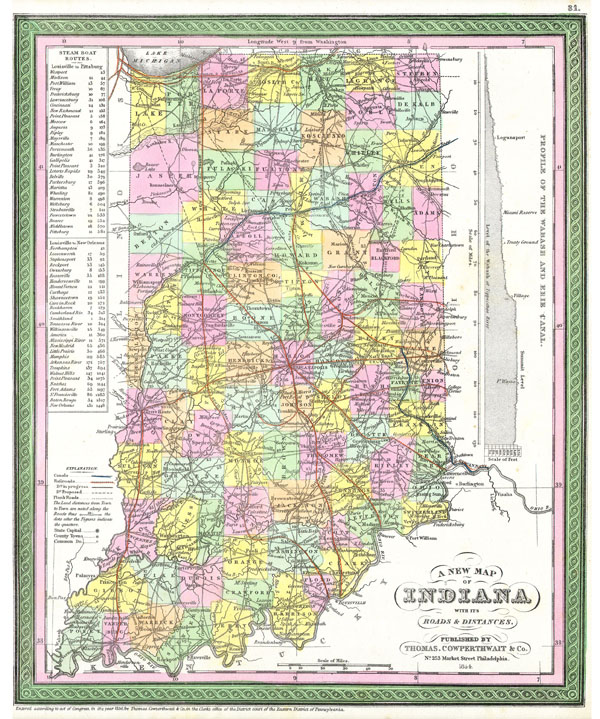 A New Map of Indiana with its Roads & Distances