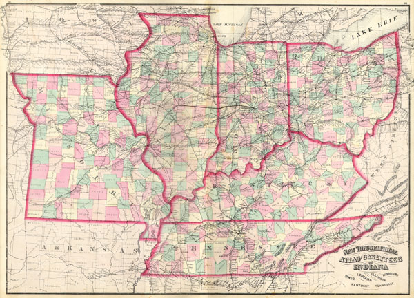 New Topographical Atlas and Gazetteer of Indiana, Ohio, Indiana, Illinois, Missouri, Kentucky, Tennessee.
