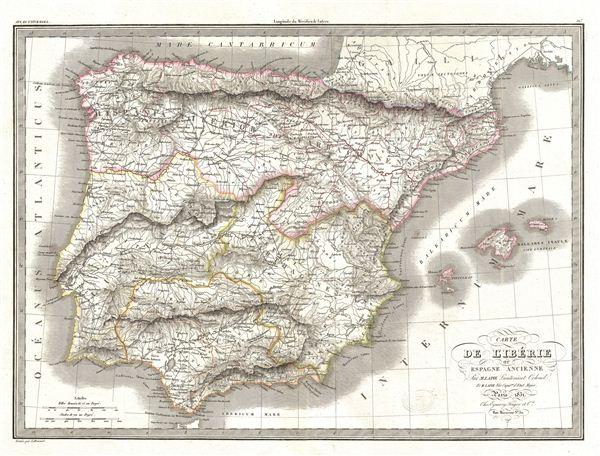 Carte de l'Iberie ou Espagne Ancienne.