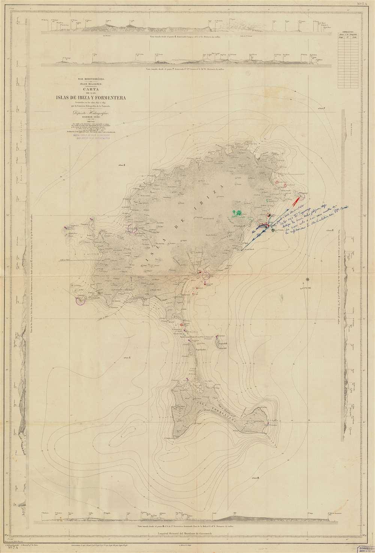 Mar Mediterráneo. Islas Baleares. Carta de las Isloas de Ibiza y Formentera. - Main View