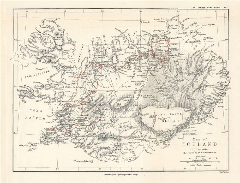 Map of Iceland to illustrate the Paper by Dr. K. Grossmann. - Main View