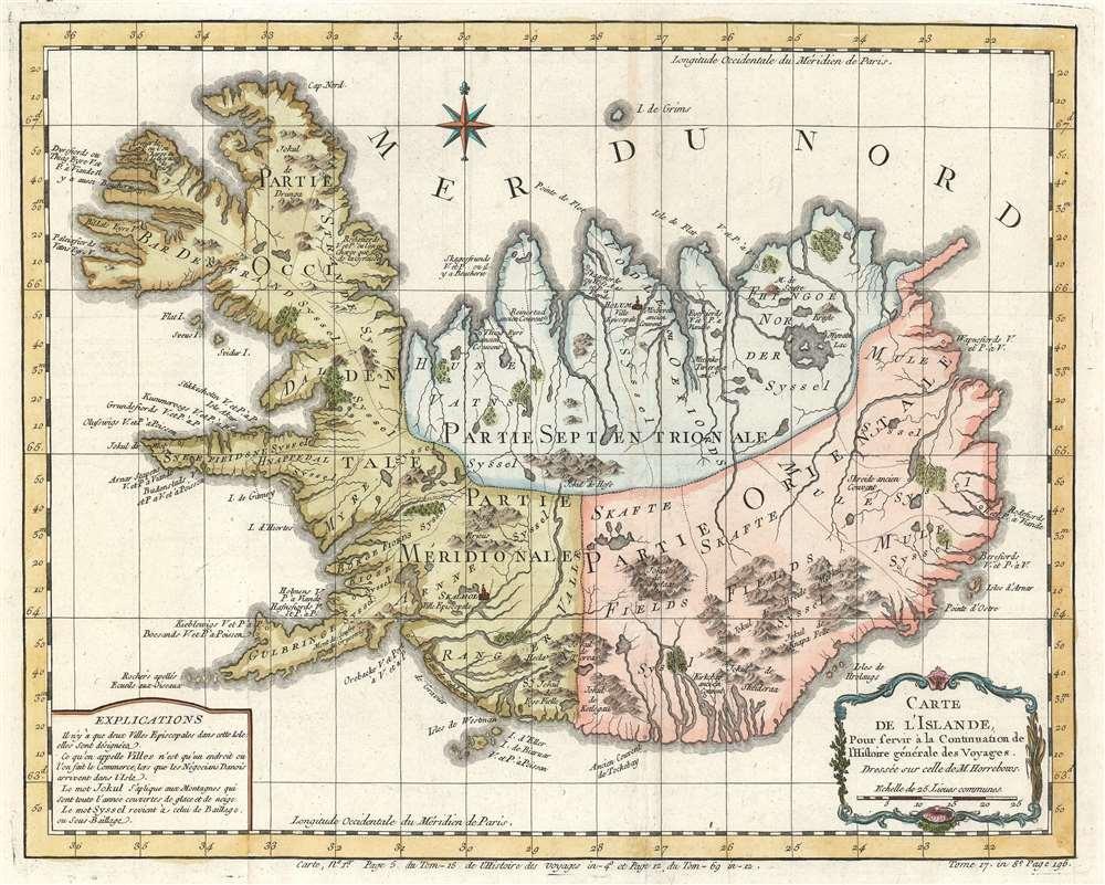 Carte de l'Islande, Pour Servir à la Continuation de l'Histoire générale des Voyages. - Main View