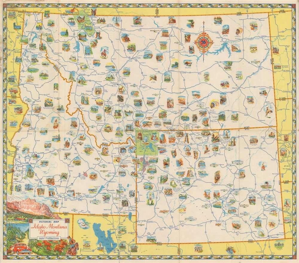 Pictorial Map Idaho Montana Wyoming. - Main View