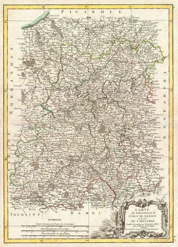 Carte du Gouvernement de L'Isle de France et de celui de L'Orleanios. - Main View