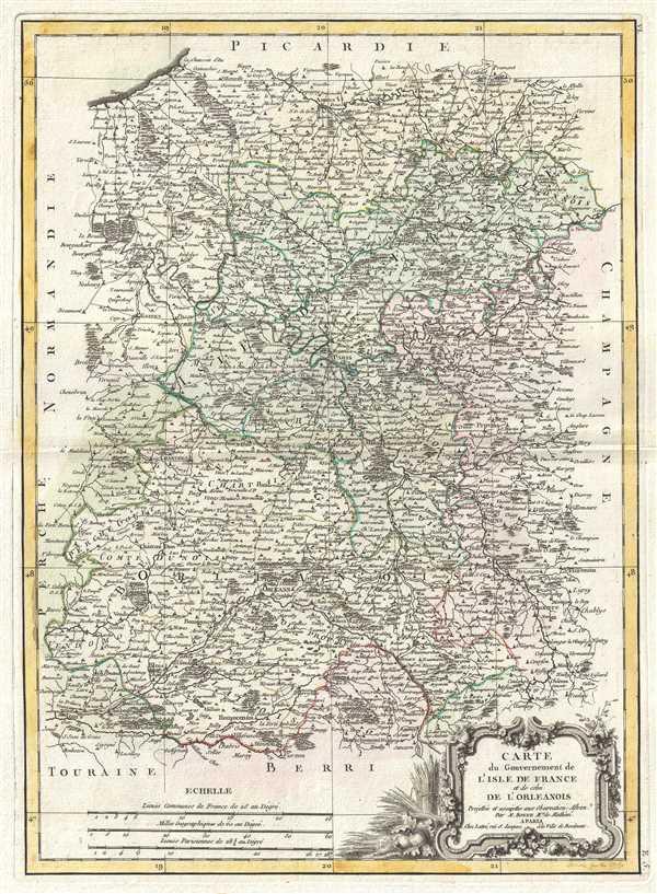 Carte du Gouvernement de L'Isle de France et de celui de L'Orleanios.