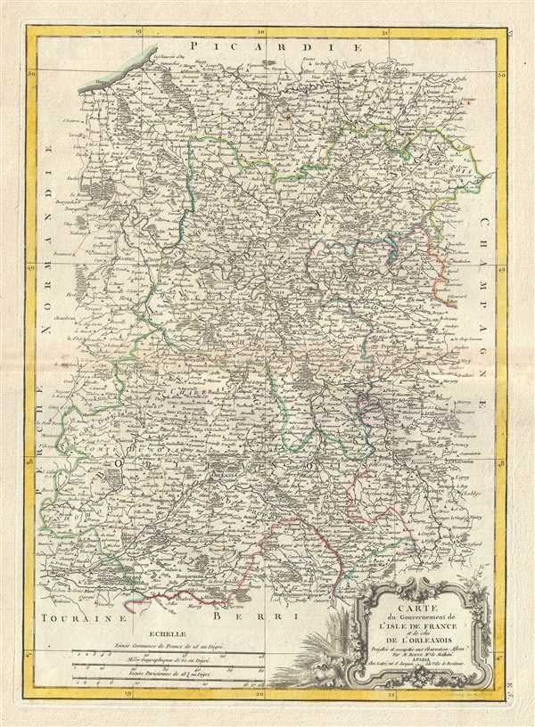 Paris Georgia Map.Carte Du Gouvernement De L Isle De France Et De Celui De L Orleanios