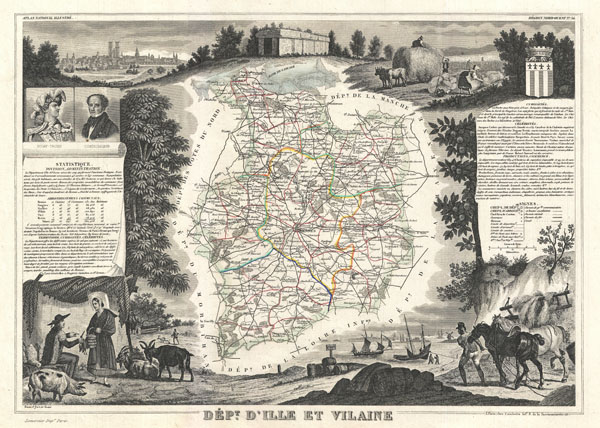 1852 Levasseur Map of the Department D'Ille Et Vilaine, France