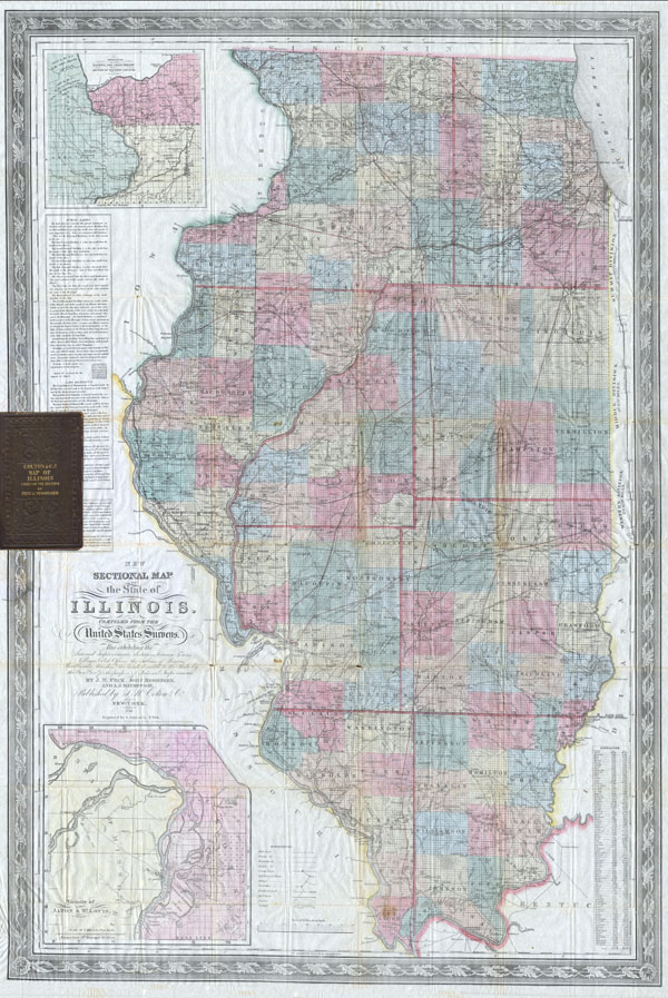 Colton's New Sectional Map of the State of Illinois. Complied from the United States Surveys. Also exhibiting the Internal Improvements, distances between Towns, Villages, & Post Offices: the outlines of Prairies, woodlands, Marshes & the lands donated to the State by the Genl. Govt for the purpose of Internal Improvement.