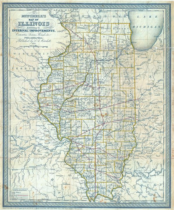 Mitchell's Map of Illinois Exhibiting its Internal Improvements, Counties, Towns, Roads, etc.