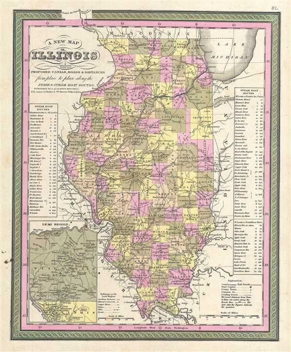 A New Map of Illinois with its Proposed Canals, Roads & Distances from Place to Place along the Stage & Steam Boat Routes.