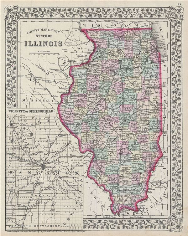 County map of the state of Illinois. - Main View