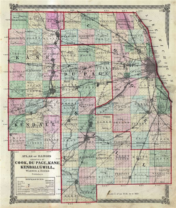 Atlas of Illinois Counties of Cook, Du Page, Kane Kendall and Will.