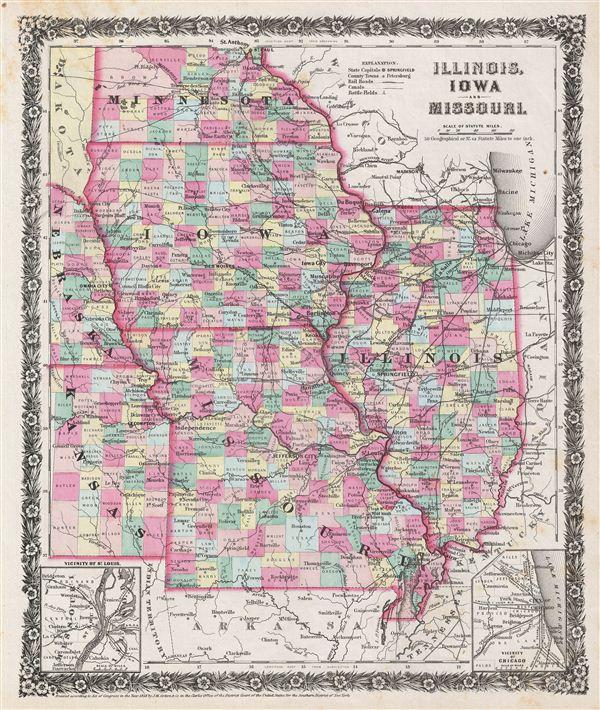 Illinois Iowa And Missouri Geographicus Rare Antique Maps