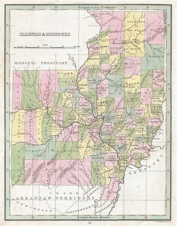 Illinois and Missouri Geographicus Rare Antique Maps