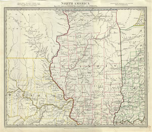 North America Sheet IX Parts of Missouri, Illinois and Indiana.