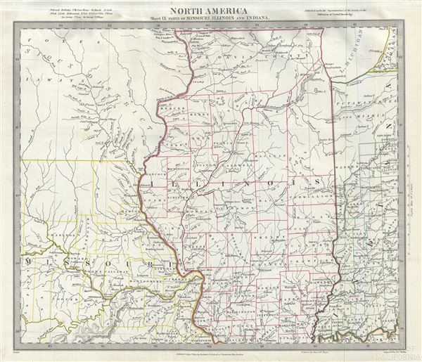 North America Sheet IX of Missouri, Illinois and Indiana.