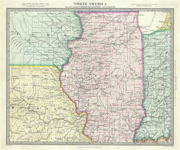 North America Sheet IX Parts of Missouri, Illinois and Indiana