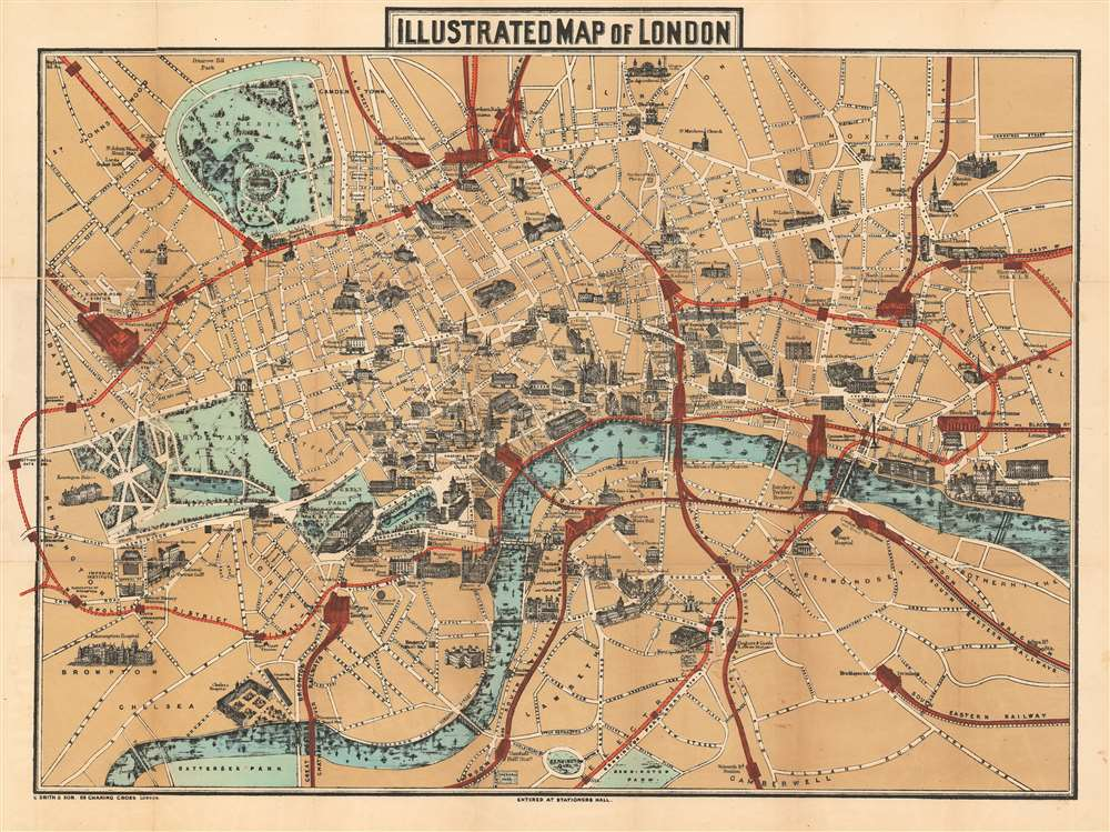 London Border Map.Illustrated Map Of London Geographicus Rare Antique Maps