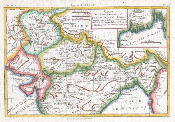 Carte De La Partie Superieure De L'Inde En De Cadu Gange