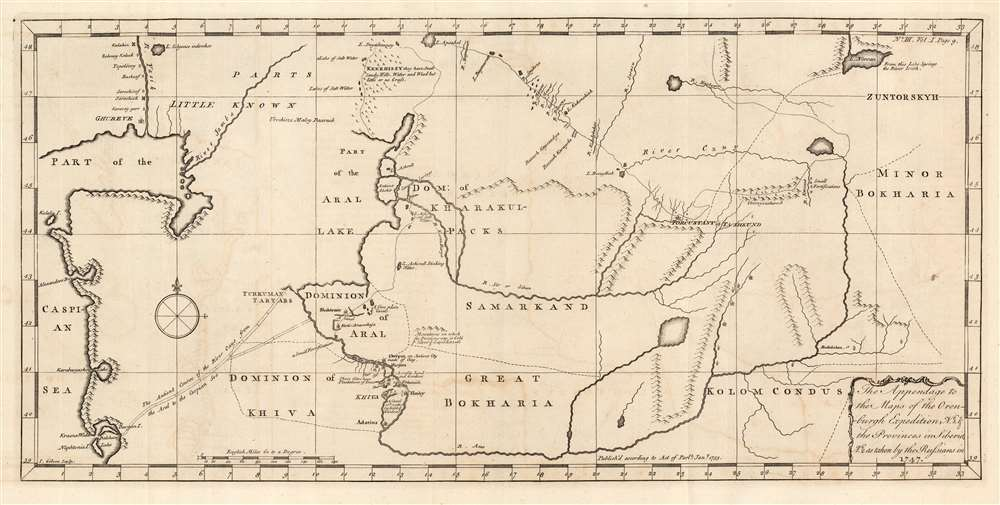 The Appendage to the Maps of the Orenburg Expedition, No. 1. and the Provinces in Siberia, No. 2. As taken by the Russians in 1747. - Main View