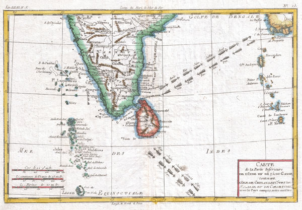 1780 Raynal and Bonne Map of Southern India