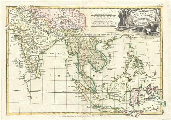 Les Indes Orientales et leur archipel. Assujettie aux observations astronomiq(u)es combinees avec les itineraires anciens et modernes, et avec les routes des navigateurs.
