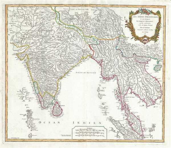 Les Indes Orientales, ou sont distingues les Empires et Royaummes qu'elles contiennent, tirees du Neptune Oriental.