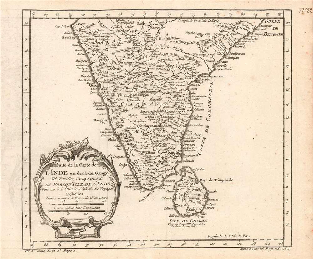 Suite de la carte de l'Inde en deçà du Gange IIe. feuille, comprenant la Presqu' Isle de l'Ind pour servir à l'Histoire générale des voyages. - Main View