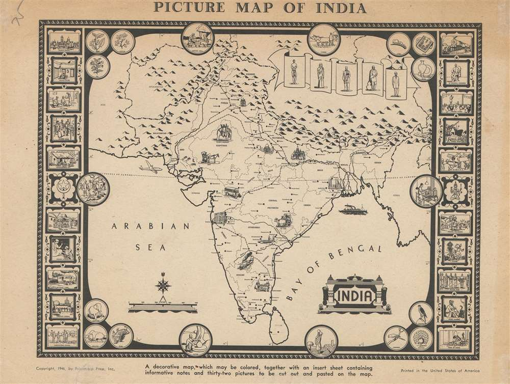 Picture Map of India. - Alternate View 1