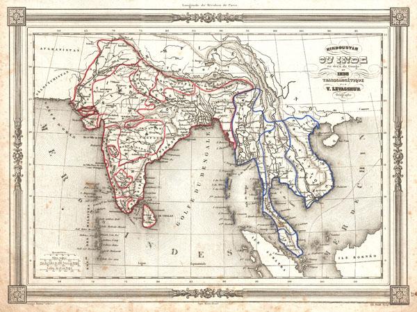 Hindoustan ou Inde en deca du Gange et Inde Transgangetique par V. Levasseur Geographe.