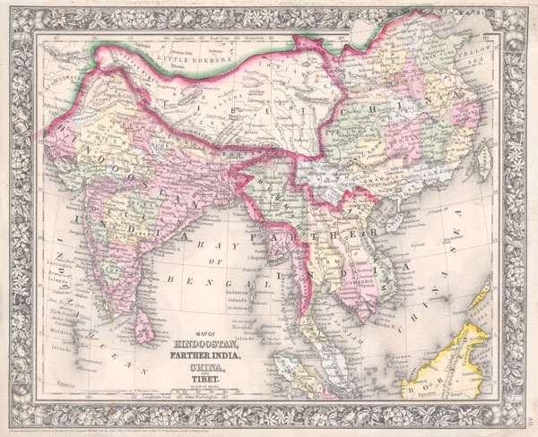 Map of Hindoostan, Farther India, China, and Tibet. - Main View