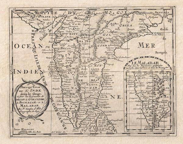 Presqu'Isle de L'Inde deca le Gange, ou sont les Royaumes de Decan, de Golconde, de Bisnagar, et le Malabar.