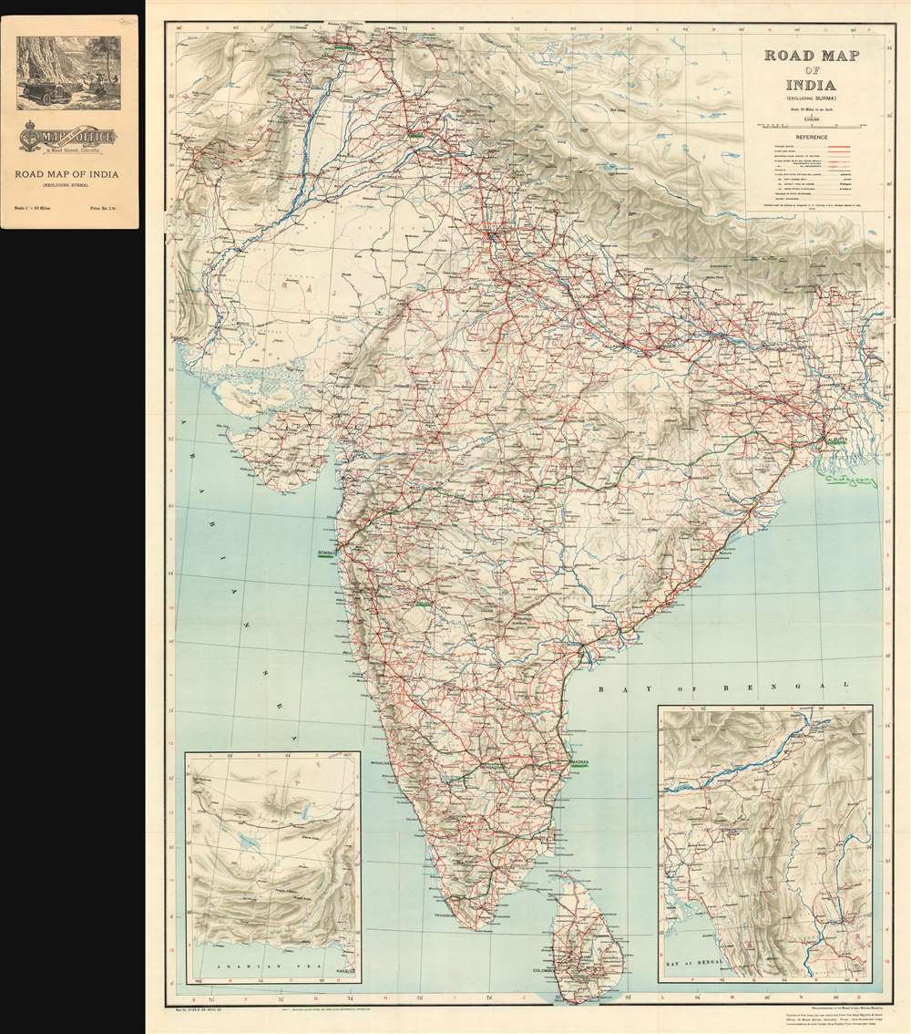 Road Map of India (Excluding Burma). - Main View